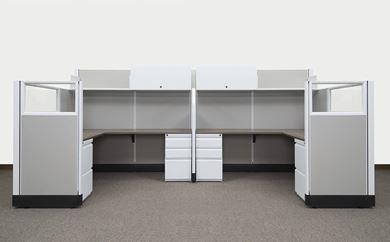 Picture of 2 Person, 6' x 6' L Shape Cubicle Workstation with Filing Storage