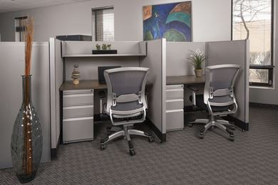 Picture of 2 Person Telemarketing Cubicle Workstation with Filing Pedestal