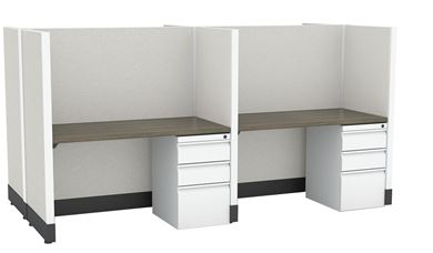 Picture of 4 Person Telemarketing Cubicle Workstation with Filing Pedestal