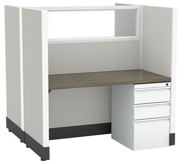 Picture of 2 Person Straight Desk Cubicle Workstation with Filing Pedestal
