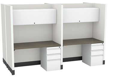 Picture of 4 Person Straight Desk Cubicle Workstation with Filing Pedestal