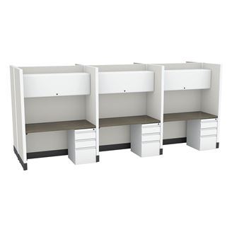 Picture of 6 Person Straight Desk Cubicle Workstation with Filing Pedestal