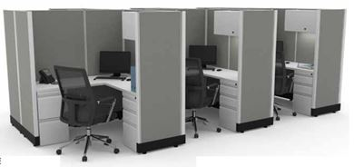 Picture of Cluster of 6 Person, 6' L Shape Desk Cubicle Workstation