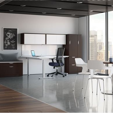 Picture of L Shape Powered Height Adjustable Table with Wardrobe Storage