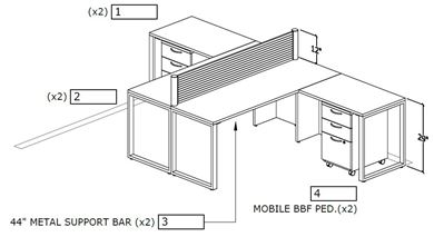 Picture of Two Person L Shape Desk Workstation