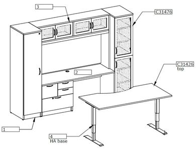 Picture of Executive Desk Set with Powered Table and Wardrobe Credenza Storage
