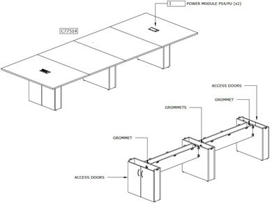 Picture of 14' Rectangular Conference Table with Power Modules