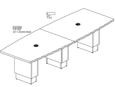 Picture of 10' Boat Shape Conference Table with Power Module