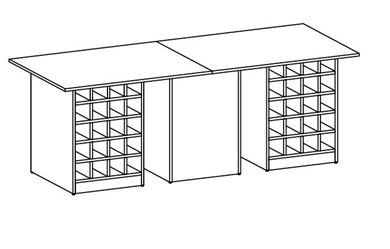 Picture of 10' Standing Table with Lower Storage Cubbies