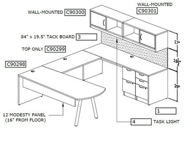 Picture of U Shape Desk Workstation with Arc Peninsula Table