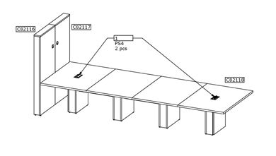 Picture of 14' Conference Table with Power Modules and Wall Panel