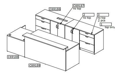 Picture of Reception Desk Workstation with Storage Credenza