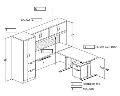 Picture of L Shape Desk Workstation with Powered Return and Wardrobe Storage