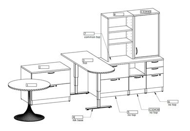 Picture of D Top Powered Height Adjustable Table with Storage Credenza