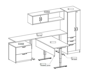 Picture of L Shape Desk Surface with Powered Return and Wardrobe Storage