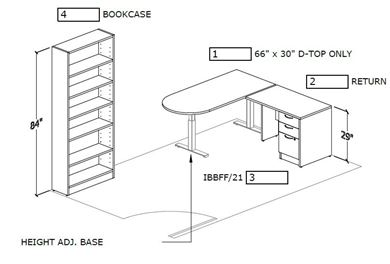 Picture of D Top Powered Height Adjustable Table with Bookcase Storage