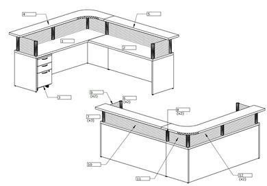 Picture of L Shape Reception Desk Workstation
