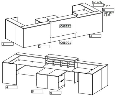 Picture of Two Person U Shape Reception Desk Workstation