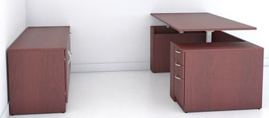 Picture of 6' Powered Height Adjustable Desk with Storage Credenza