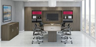 Picture of 12' Conference Table with Wall Panel Storage Cabinets