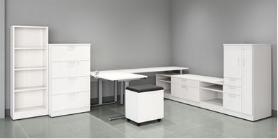 Picture of Powered L Shape Desk with Lateral and Bookcase Storage