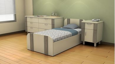 Picture of Healthcare, Dormitory Bed with Dresser and Beside Table