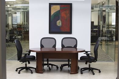 Picture of 6' Racetrack Conference Table with Ergonomic Chairs