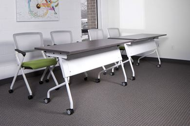 """Picture of Set of 2, 60""""W Training Table with Nesting Chairs"""