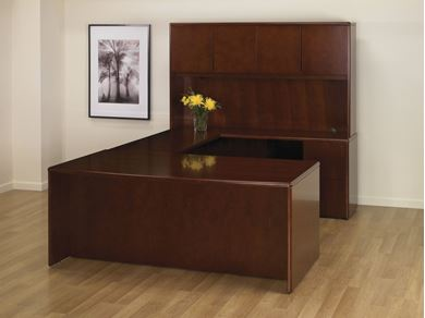 Picture of Veneer, Bow Front U Shape Desk Station with Overhead Storage