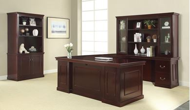 Picture of Traditional Veneer, U Shape Desk Station with Bookcase Storage