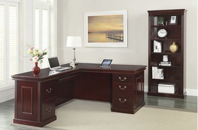 Picture of Traditional Veneer, L Shape Desk with Bookcase