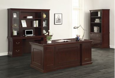 Picture of Traditional Veneer, Executive Desk Set with Lateral Filing