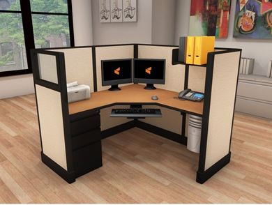 Picture of 5' Powered L Shape Cubicle Workstation
