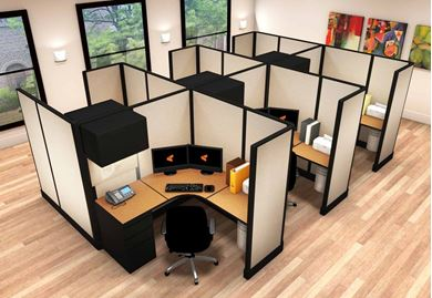 Picture of Cluster of 6 Person, 5' Powered L Shape Cubicle Workstation
