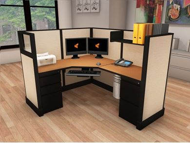 Picture of 5' x 6' Powered L Shape Cubicle Workstation
