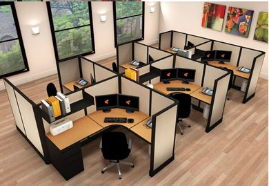 Picture of Cluster of 6 Person, 5' x 6' Powered L Shape Cubicle Workstation