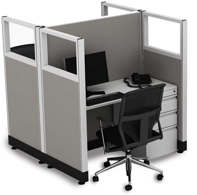 Picture of Double Pack, 4' Powered Telemarketing Cube Workstation