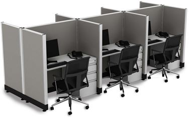 Picture of Cluster of Six, 4' Powered Telemarketing Cube Workstation