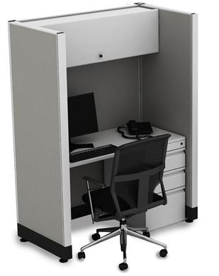 Picture of 4' Powered Telemarketing Cubicle Workstation