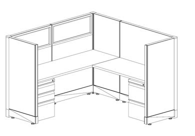 Picture of 6' Powered L Shape Cubicle Workstation