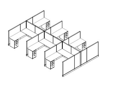 Picture of Cluster of 6, 6' x 6' Powered L Shape Cubicle Workstation