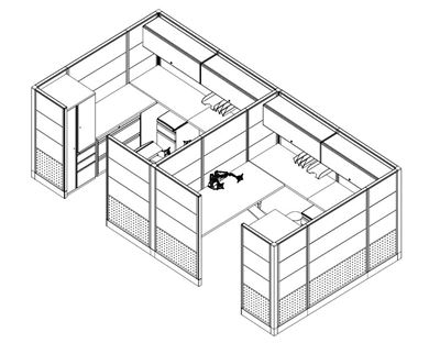 Picture of Cluster Of 2 Person Cubicle Workstation with Wardrobe and Lateral Filing