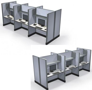 Picture of Pack of 2, Six Person 4' Powered Telemarketing Workstation
