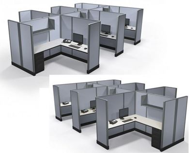 Picture of Pack of 2, Cluster of Six Person L Shape Cube Workstation