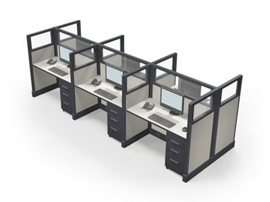 Picture of Cluster of 6 Person, Powered Computer Desk Workstation