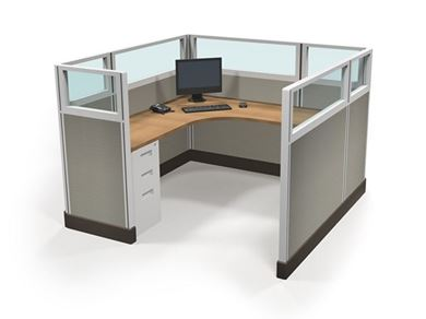 Picture of 6' x 6' L Shape Cube Workstation with Filing Storage
