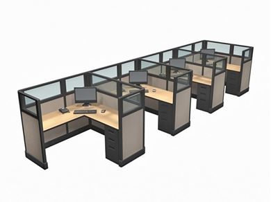 Picture of Cluster of 4 Person, 5' x 5' Cube Workstation