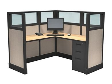 Picture of 5' x 5' Powered L Shape Cubicle Workstation