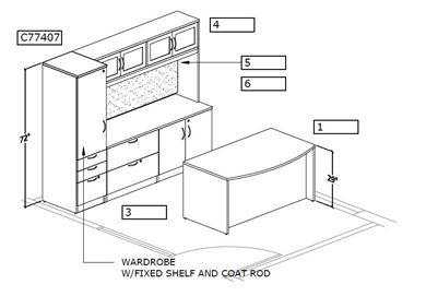 Picture of Bow Front Executive with Storage Credenza Set