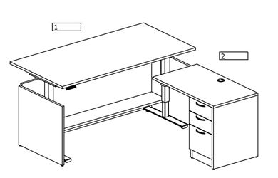 Picture of Pack of 3, 6' L Shape Powered Desk Station